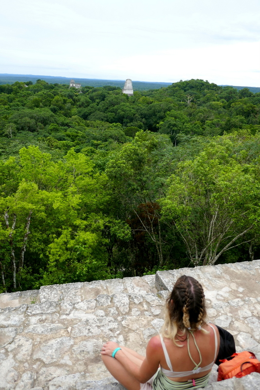 Anete on top of Temple IV in Tikal national park.