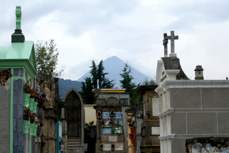 The graveyard in Xela, with volcano Santa Maria in the background