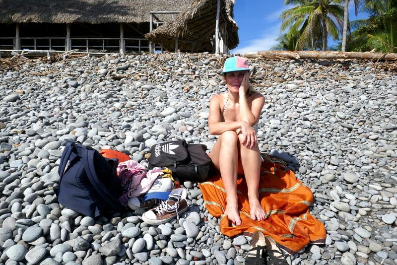 Anete on the rocky beach of El Tunco in El Salvador.