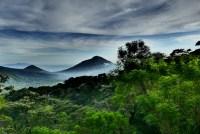 Views of volcanoes near Alegría, El Salvador.