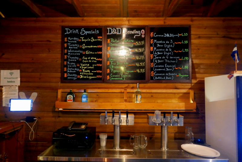 D&D Brewery drink menu including multiple craft beers in Lago de Yojoa