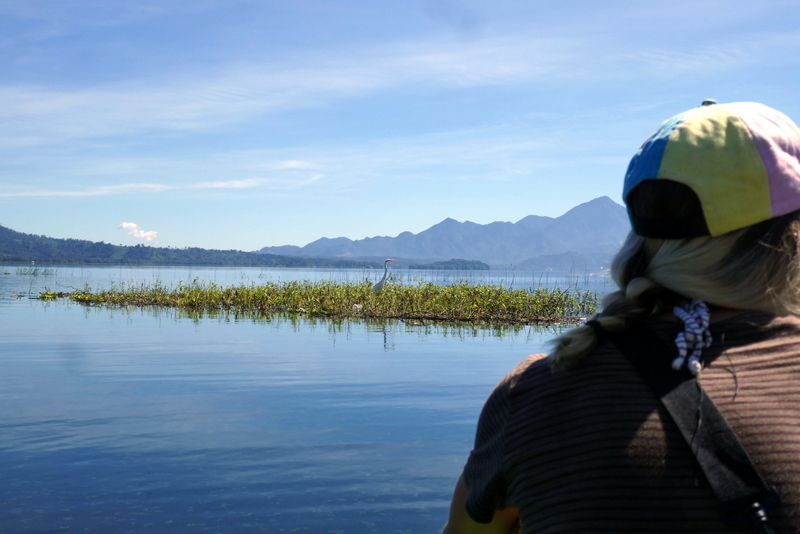 Moving our kayak towards a heron on Lago de Yojoa