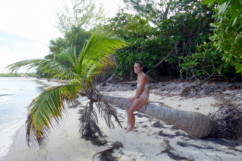 Anete sitting on a palm tree in Utila