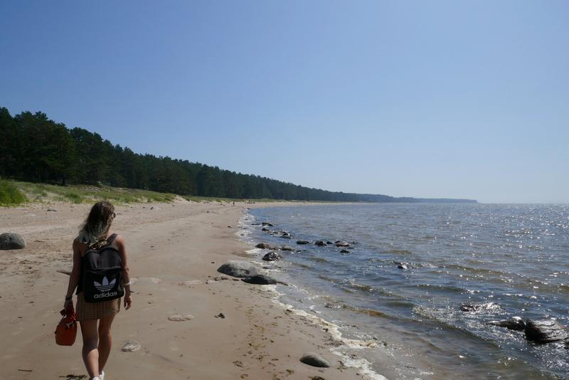 Anete walks on the beach of Kabli Lemme.