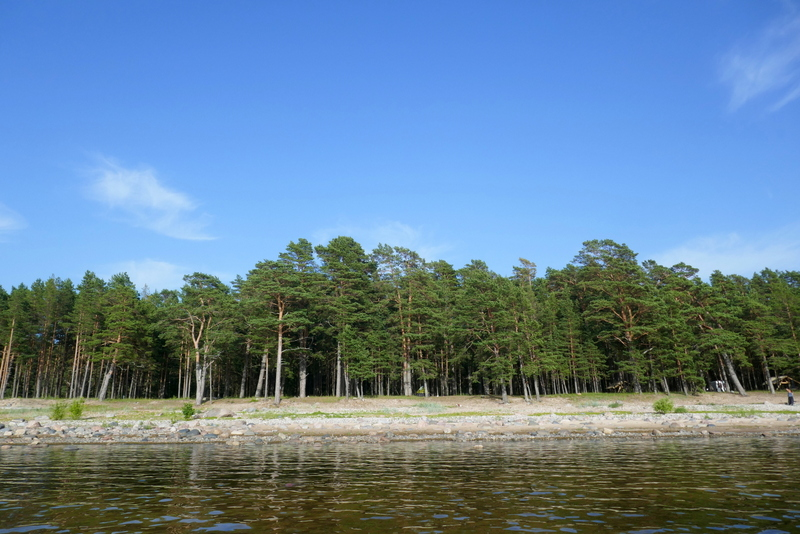 The beach of Krapi as seen from the sea. You can excercise your freedom to roam here.