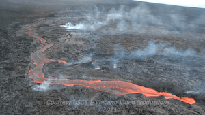 Lava channels flowing down eastern flank of Pu`u `O`o, Sept 23, 2011