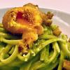 Linguine - Crema di Piselli - Tuorlo Fritto - Linguine mit Erbsencreme & frittiertem Eigelb