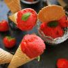cremiges erdbeersorbet - selbstgemacht vegan und fruchtig