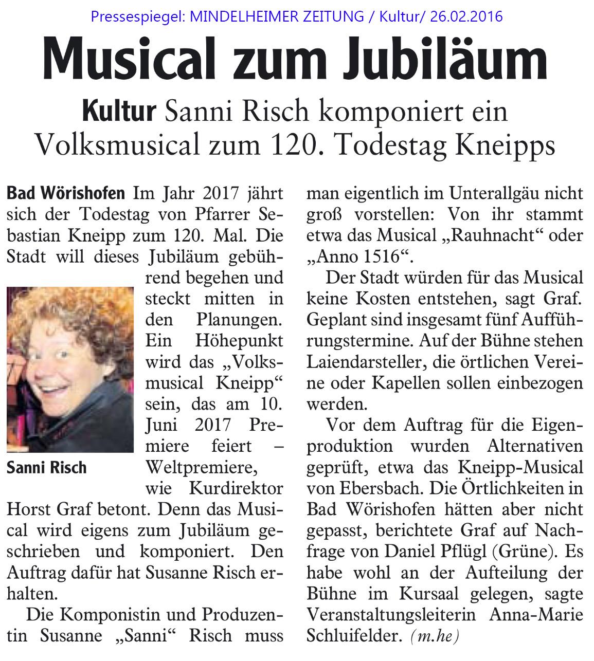 VolksMusical KNEIPP 2017 / Pressebericht Mindelheimer Zeitung 26.02.2016