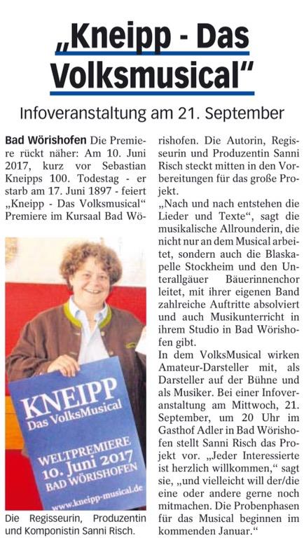 """Öffentlicher Infoabend zum """"VolksMusical KNEIPP"""" am 21.09.2016 um 20 Uhr in Bad Wörishofen"""
