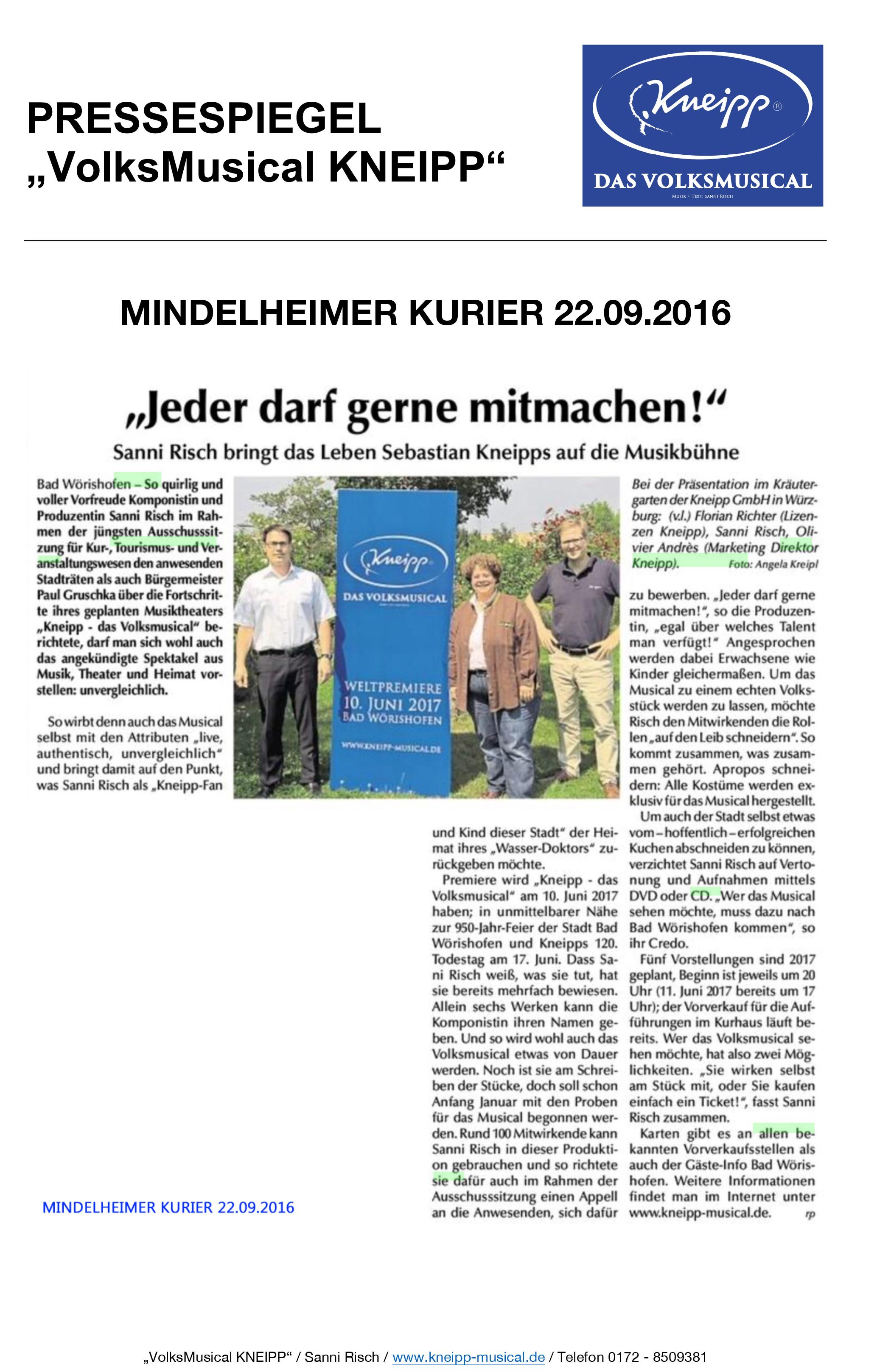 """Pressespiegel vom 22.09.2016: MINDELHEIMER KURIER """"VolksMusical KNEIPP"""""""