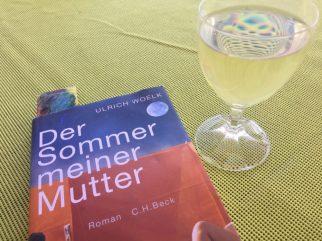 aktuelles Lesebuch mit Lesezeichen und Riesling