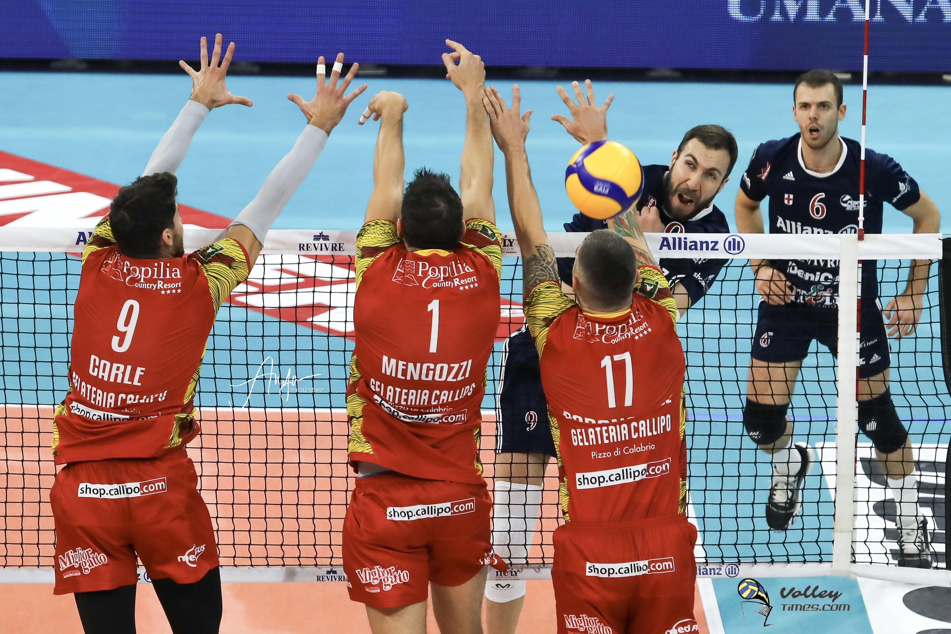 Italy: with a 3-1 victory over Vibo Valentia, Milano takes its first home victory in the postponement of Round 9