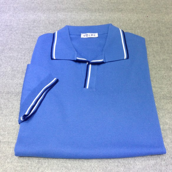 Light Blue cotton t-shirt with trim