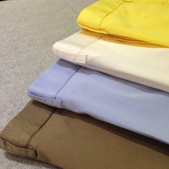 Olive, Baby Blue, White and Yellow Washable stretch cotton trousers (97% cotton / 3 % lycra)
