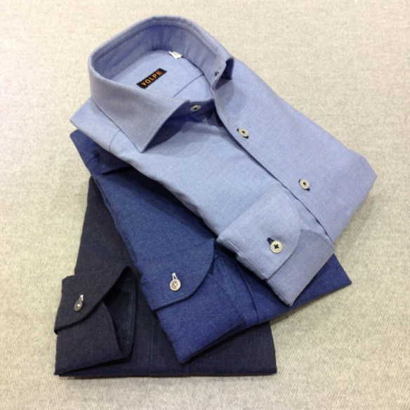 Dark Blue, Denim Blue and Light Blue Brushed cotton shirts