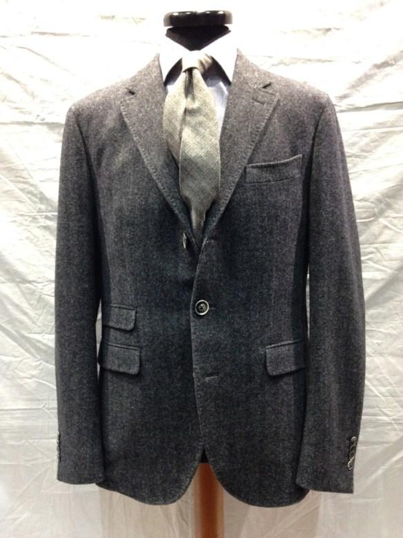 Unlined Wool (96%) & Cashmere (4%) Grey Herringbone Jacket