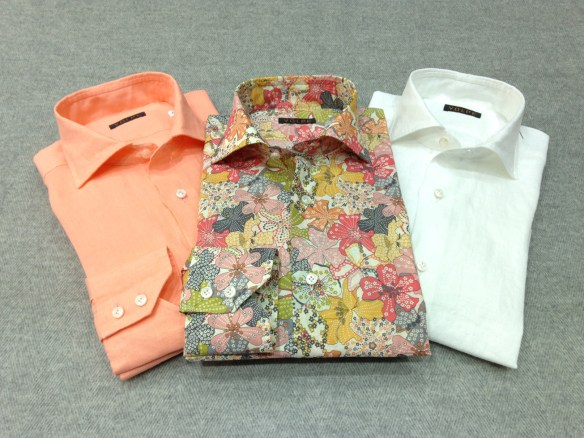 Liberty Print (100% Cotton) alongside Orange and White Linen Shirts (100% Linen)