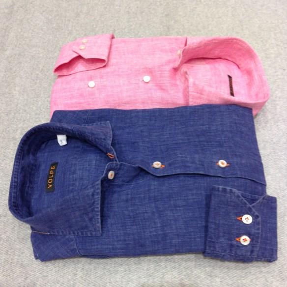Dark Denim Blue with Orange Stitching and Pink Shirt (100% Linen)
