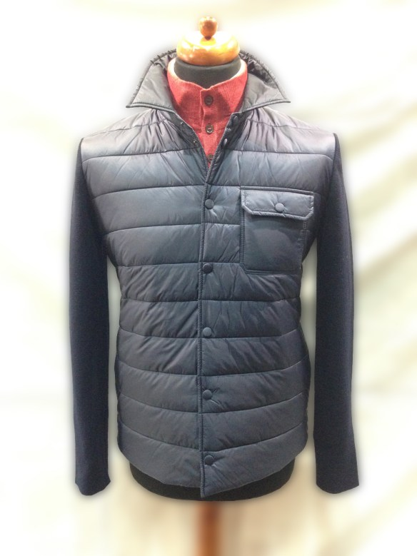 Navy Blue Nylon Front with Wool sleeves and back