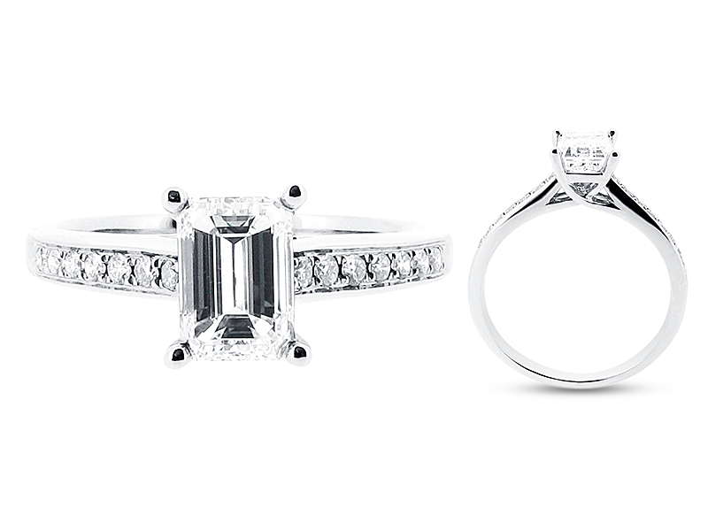 Emerald Cut Ring with Pave Set Shoulders – ER 1266