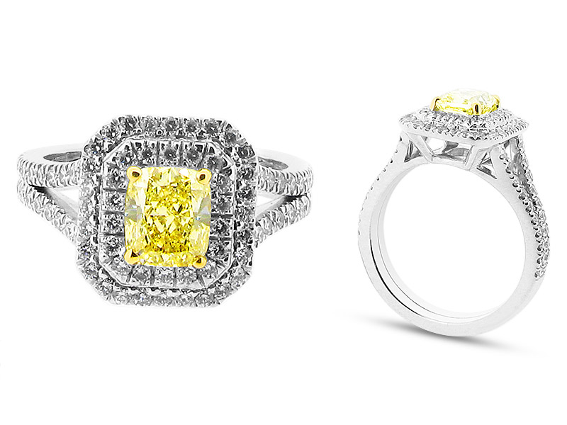 Stunning Fancy Yellow Radiant Cut in Double Halo Surround – ER 2051