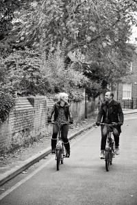 Cycling along the road in London