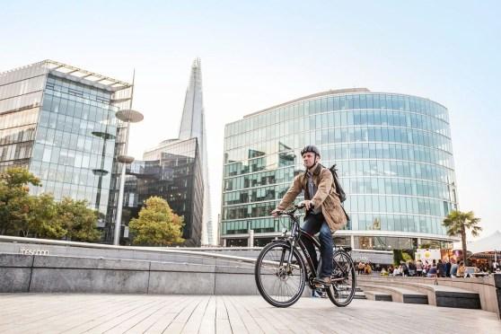 VOLT Pulse Hybrid e-bike being ridden in London