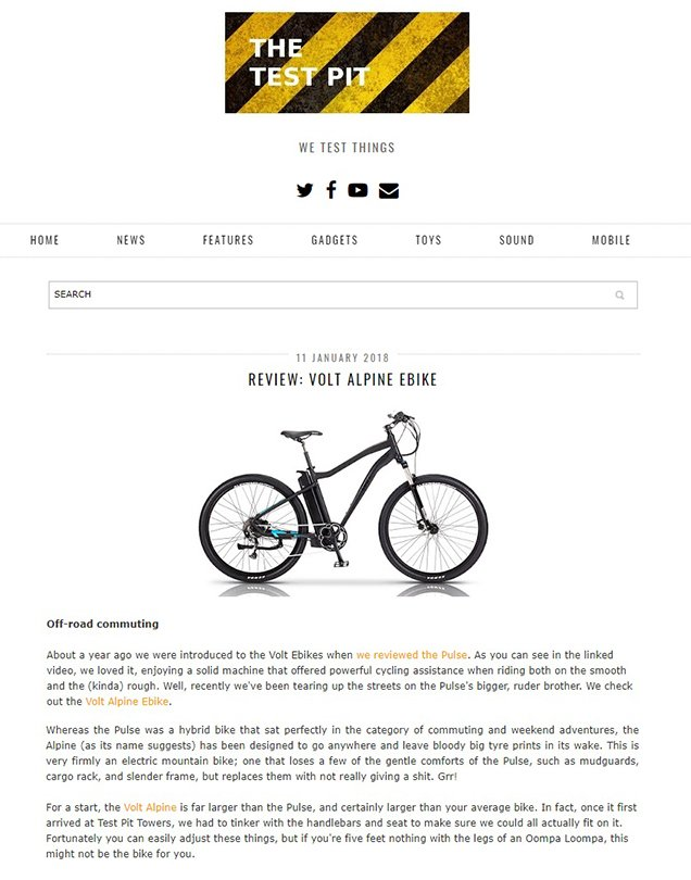 Screenshot of The Test Pit's e-bike review