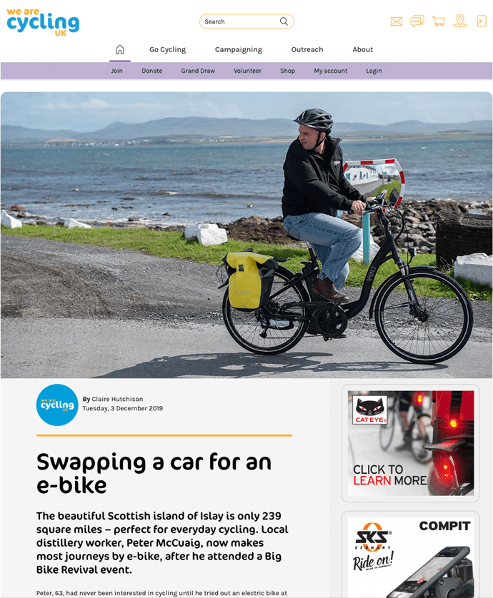 Cycling UK Swapping a car for an e-bike article preview