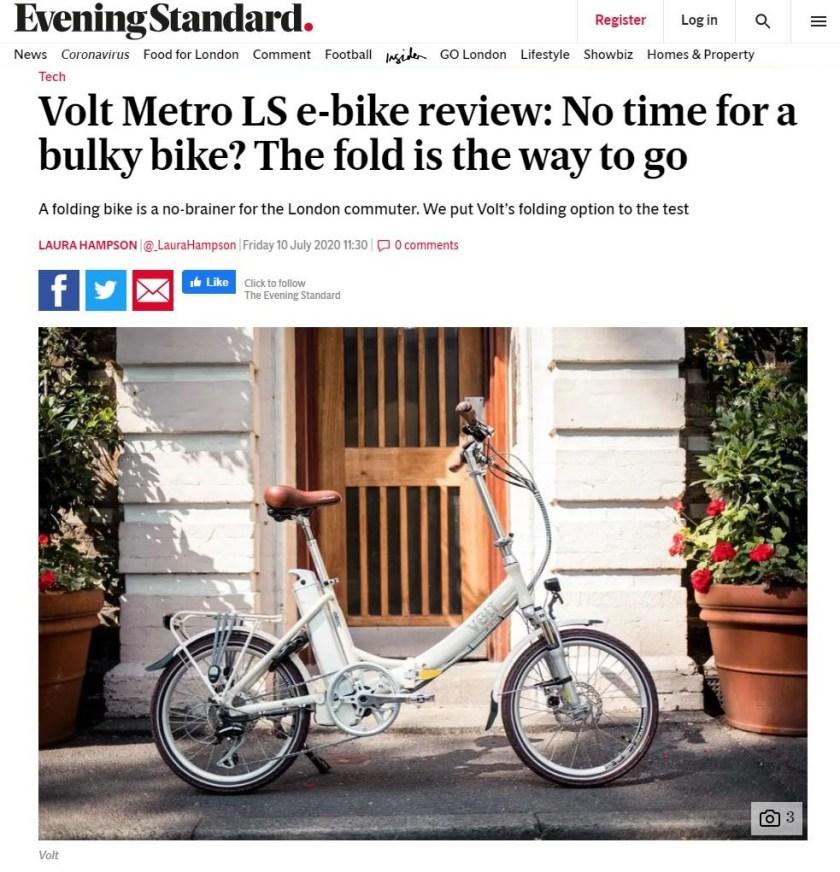 Evening Standard Metro LS Review article screenshot