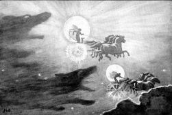"""""""The Wolves Pursuing Sol and Mani"""", by the English painter John Charles Dollman in 1909."""