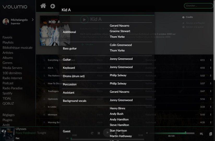 MyVolumio UI Music Details