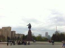 Freedom Square. Lenin Sculpture.