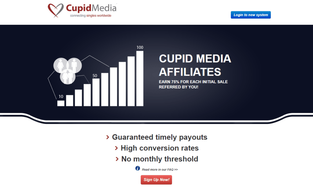 a screenshot of the cupid media affiliate program home page