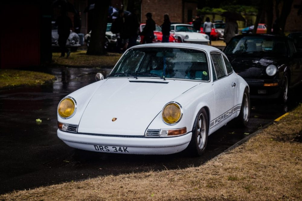 Beautiful white 911 with yellow headlights