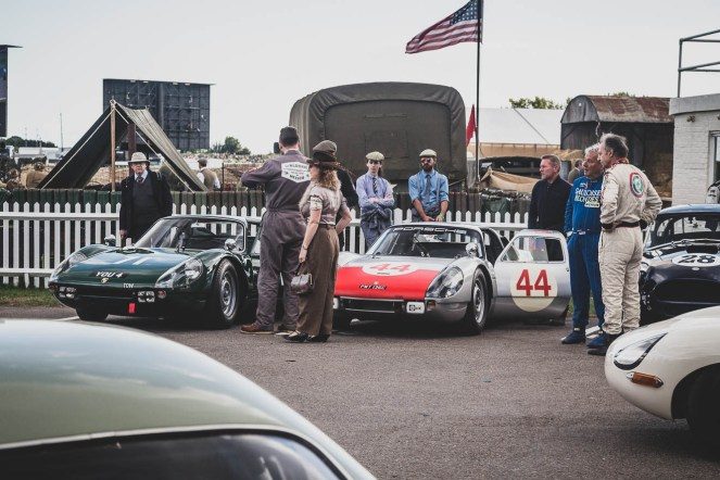 Carrera GTS' lining up, Goodwood Revival.