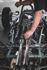 Velocity stacks on a V8 engine