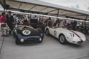Jaguar and Bristol race cars sat in the Goodwood Revival paddock