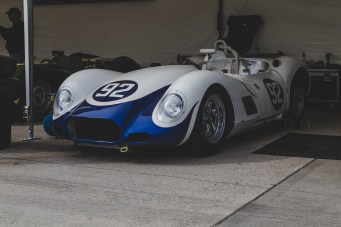 White and blue Lister in the Goodwood Revival paddock