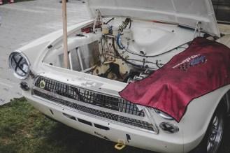 Empty Ford Lotus Cortina engine bay.