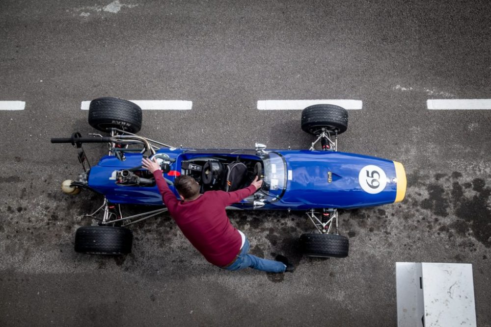 Overhead shot of racing car in pits