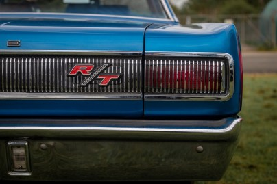 Rear grill and lights of blue Doge Charger RT muscle car