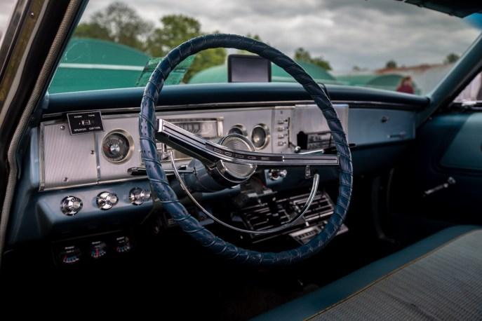Interior of light blue Dodge Polara Golden Anniversary