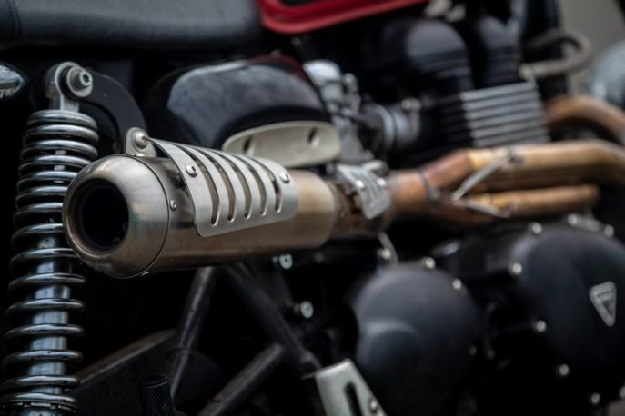 Close up of Triumph Scrambler exhaust