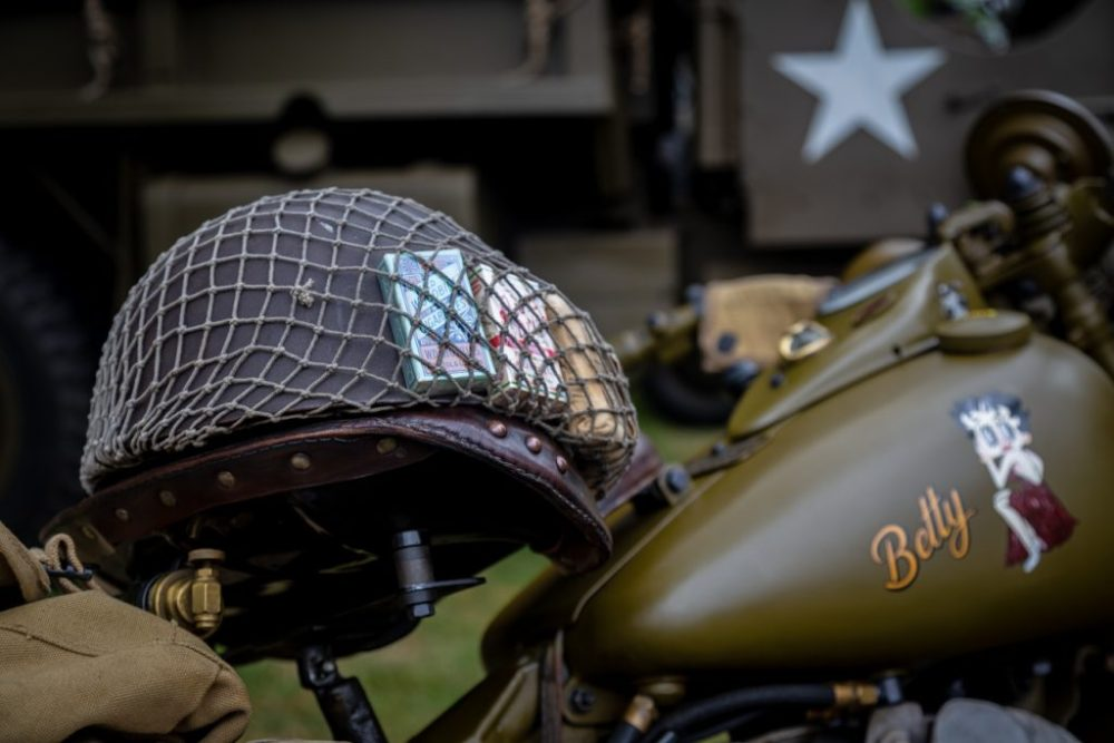 US military helmet sat on top of W45 Harley Davidson