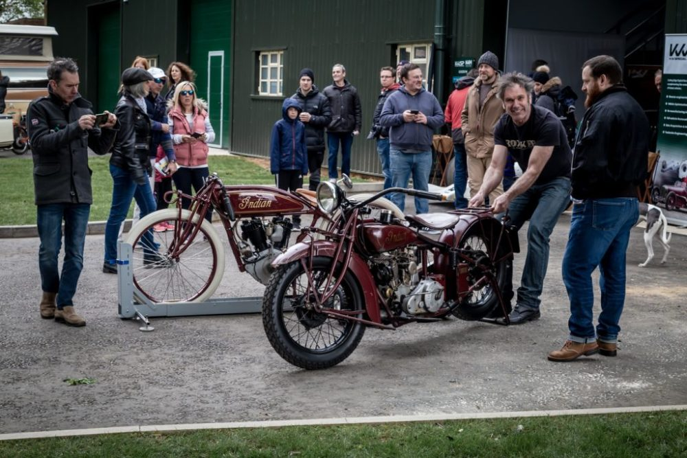 Indian motorcycles being wheeled out at Bicester Heritage Centre