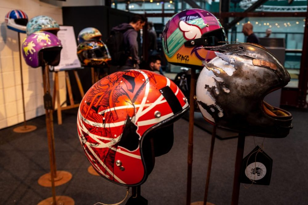 Custom painted motorcycle helmets