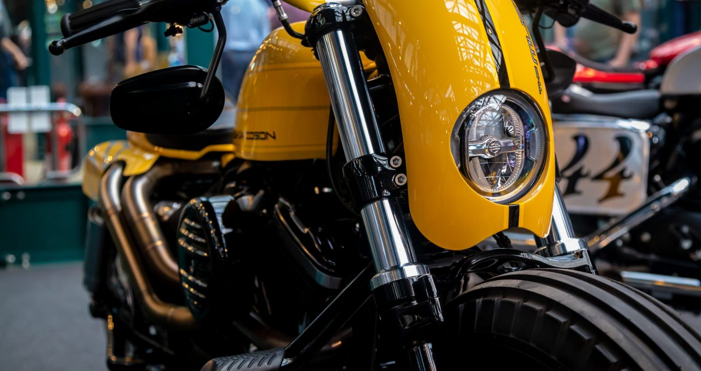 Yellow Harley Davidson custom motorcycle called The Mustdard