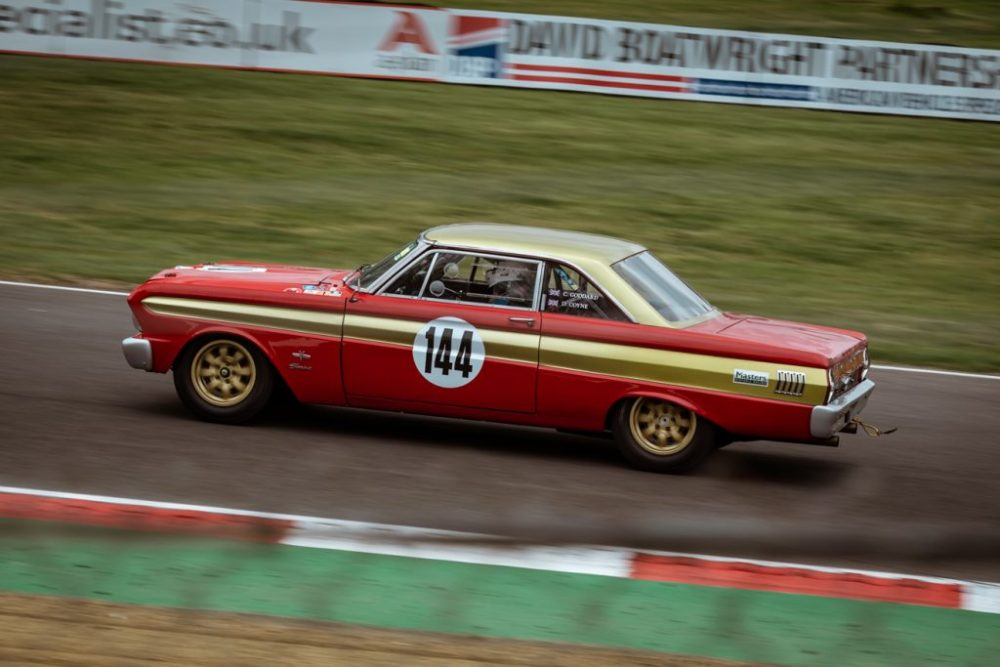 Red and gold Ford Falcon race car